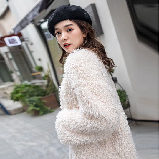 Shake sound fur coat women 2019 autumn and winter young lamb wool net red fur all-haired sheep cut wool coat