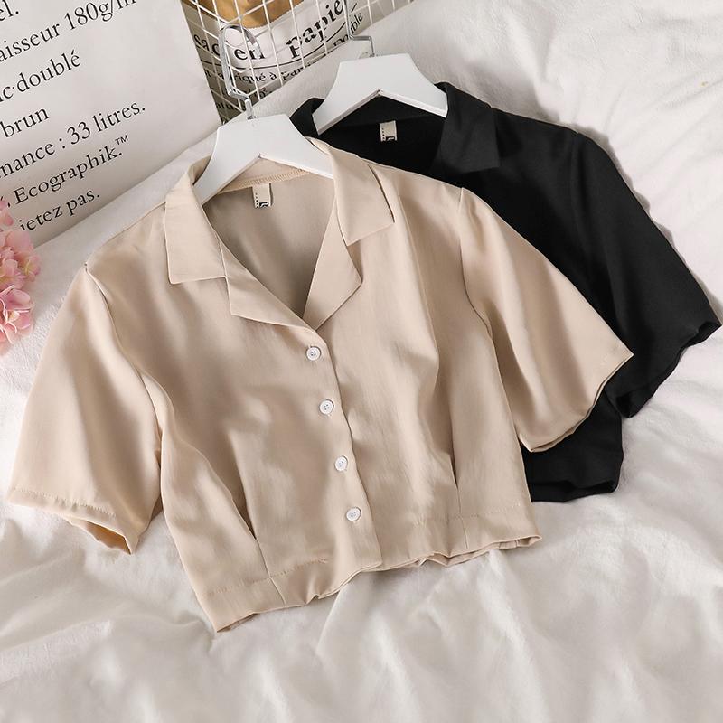 上衣短款西装女泫雅风夏季新款chic洋气百搭小众气质雪纺短袖衬衫