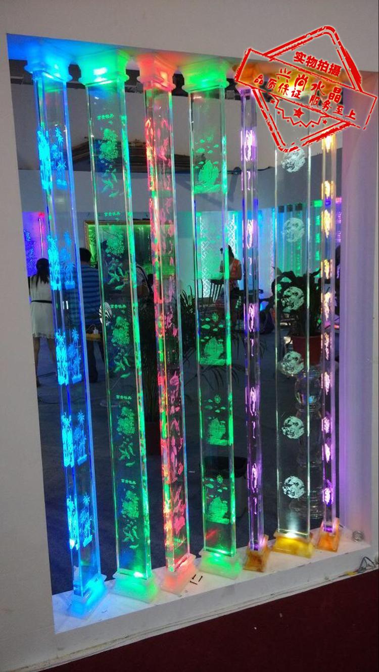 Laser Grinding 3d Carved Crystal Column Plate Glass Column