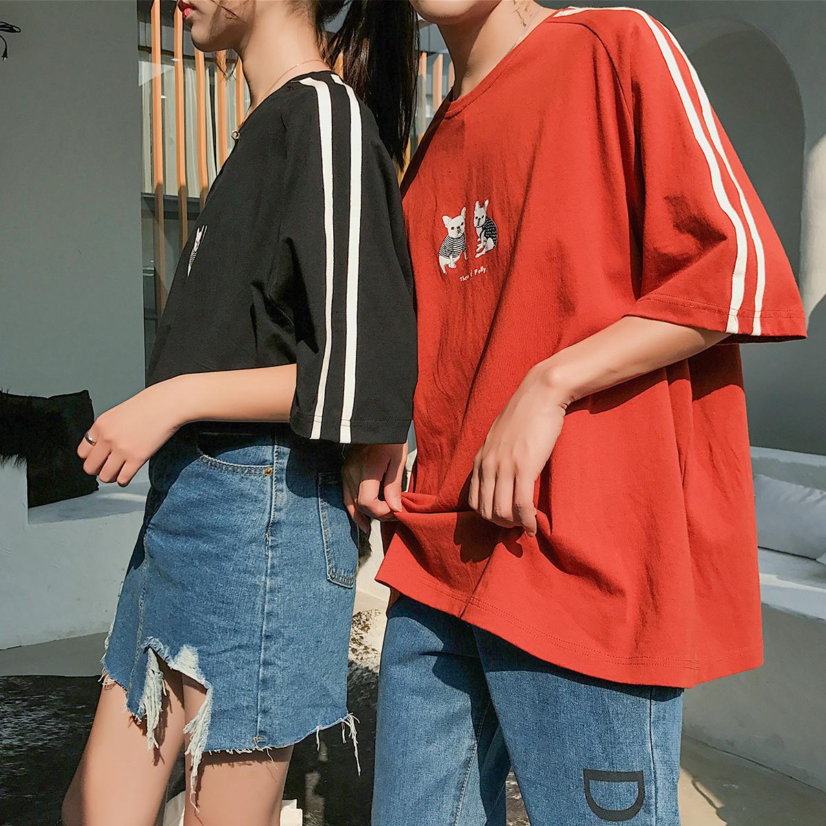 无艺男士短袖T恤韩版潮情侣上衣2018夏季圆领五分袖体恤男装夏装