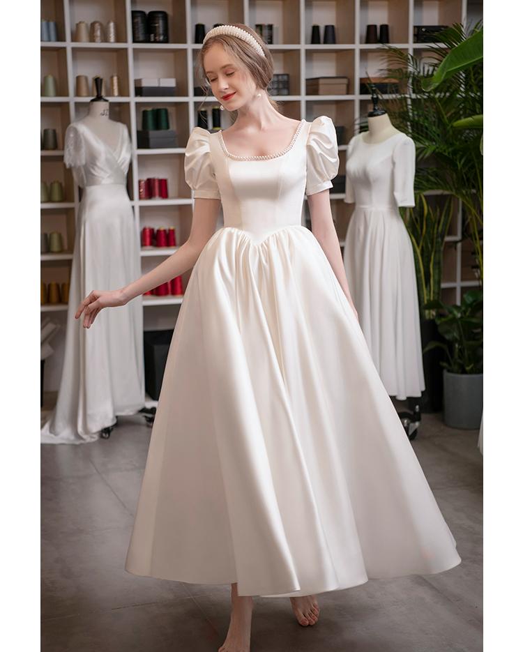 váy cưới phù hợp với những cô dâu thấp bé