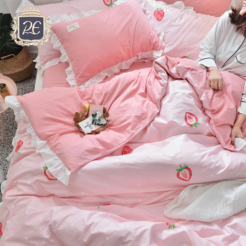 Bông bốn mảnh bông quilt cover quilt net red girl tim ba mảnh giường giường đơn nguồn cung cấp công chúa bột gió