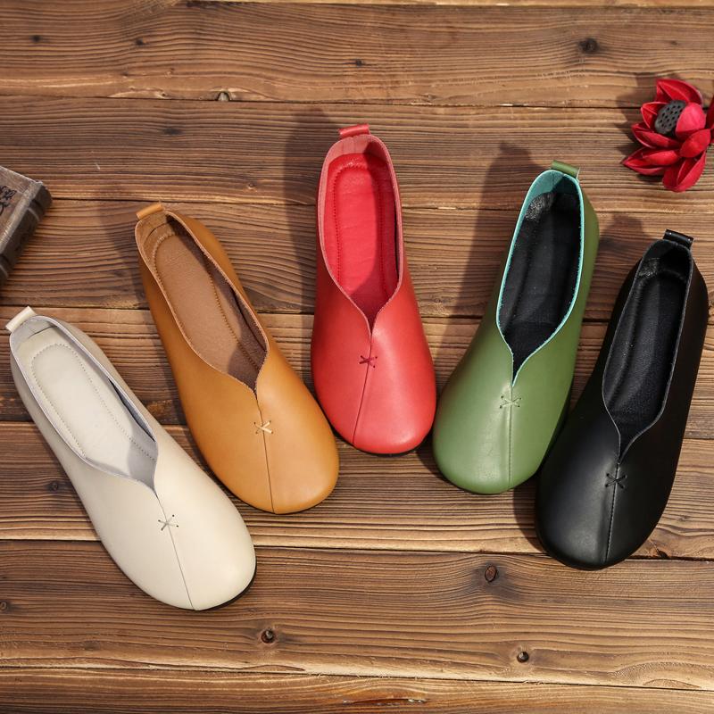 春款奶奶单鞋复古2020新女鞋真皮低跟文艺鞋浅口舒适平底圆头牛皮