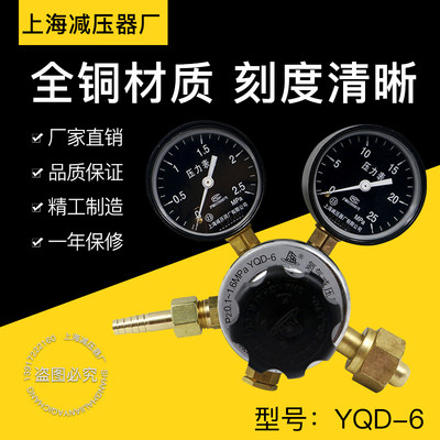 Nitrogen Pressure Regulator YQD-6 Shanghai Pressure Regulator Factory Gas Regulator Pressure Regulator Nitrogen Bottle Pressure Regulator Pressure Gauge