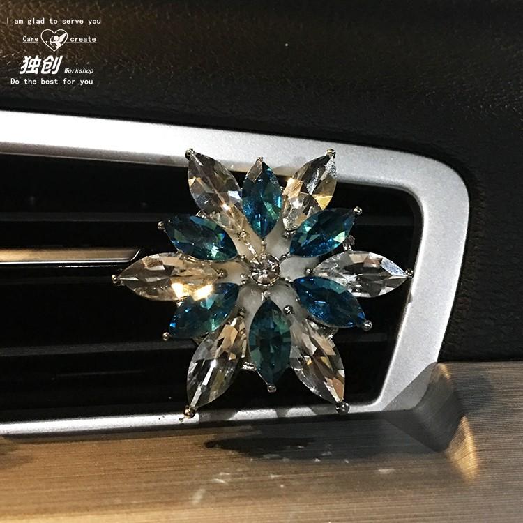 创意水晶花汽车香水 车载香水空调出风口装饰品 车内香薰夹淡香女详情图