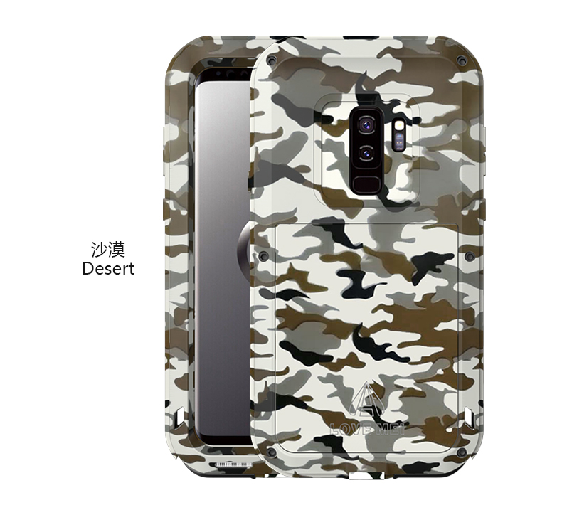 LOVE MEI Powerful Camo Series Water Resistant Shockproof Dust/Dirt/Snow Proof Aluminum Metal Outdoor Heavy Duty Case Cover for Samsung Galaxy S9 & Samsung Galaxy S9 Plus