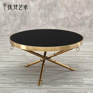 【10月新品】优梵艺术Bronte北欧客厅三角架茶几圆形金属茶桌创意