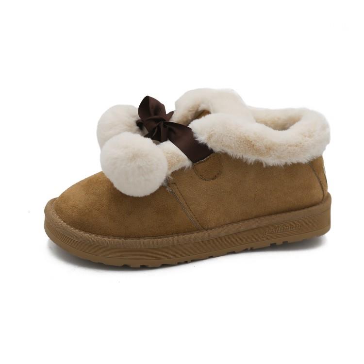 靴女短靴蝴蝶结鞋2018韩版棉鞋鞋加绒女鞋秋冬季雪地面包套筒毛毛