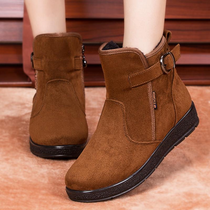 2019新款冬季雪地靴棉鞋平底短靴防滑加绒a雪地加厚底女士短筒棉靴