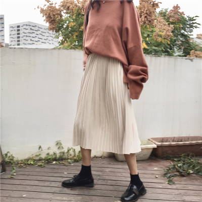 Township girl small fresh high waist wild cashmere long section pleated skirt Solid color A word skirt skirt
