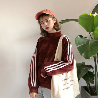 Womens 2017 new Korean version of the loose striped long-sleeved gold velvet small collar pullover jacket autumn and winter coat students