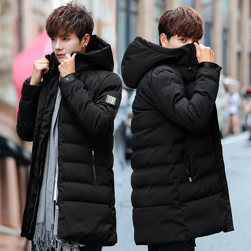 0d0f92af3c1c5 Men s cotton coat 2018 Winter new trend in the long section of the cotton  padded jacket plus velvet padded cotton men s clothing