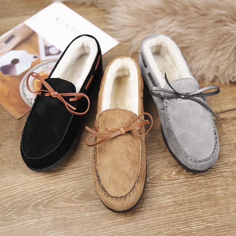 豆豆鞋懒人瓢鞋休闲鞋冬季韩版潮流潮鞋加绒a懒人英伦棉鞋男士冬天