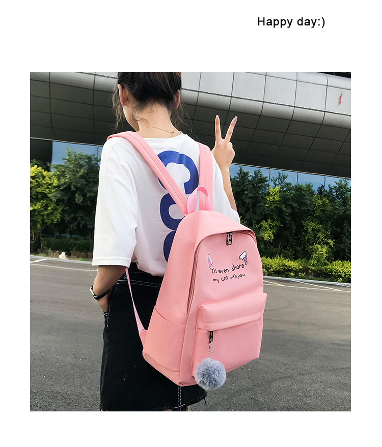 Cute WeekendTravel Bag School Backpack for Girls Canvas Fashion Casual Four Piece Set Letter Bags Yellow one size 4