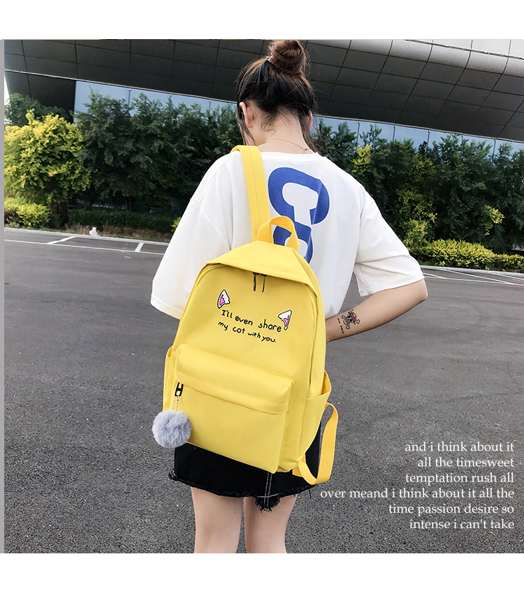 Cute WeekendTravel Bag School Backpack for Girls Canvas Fashion Casual Four Piece Set Letter Bags Yellow one size 23