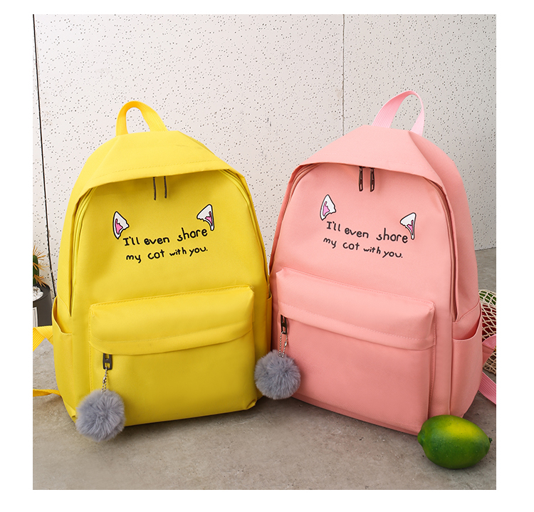 Cute WeekendTravel Bag School Backpack for Girls Canvas Fashion Casual Four Piece Set Letter Bags Yellow one size 32