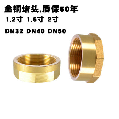 All copper plug 1.5 inch 2 inch 1.2 inch mechanical pipe tap water pipe bulkhead threaded plug cap DN324050