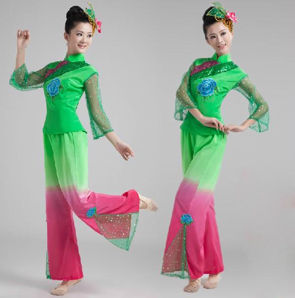 新款2018冬季广场秧歌服装民族现代舞蹈演出服女装扇子舞表演服装