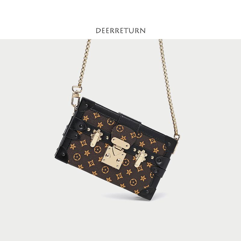 欧美时尚盒子包2019新款老花复古小方包单肩斜跨女包链条箱子包包