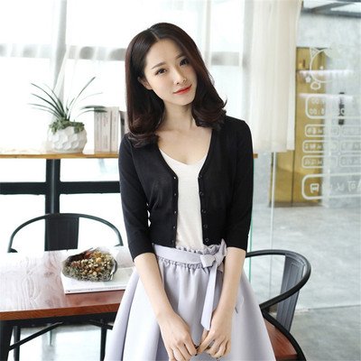 2020 ice silk knit sweater female cardigan outside summer ultra short high waist shirt with hate skirt sunscreen shirt