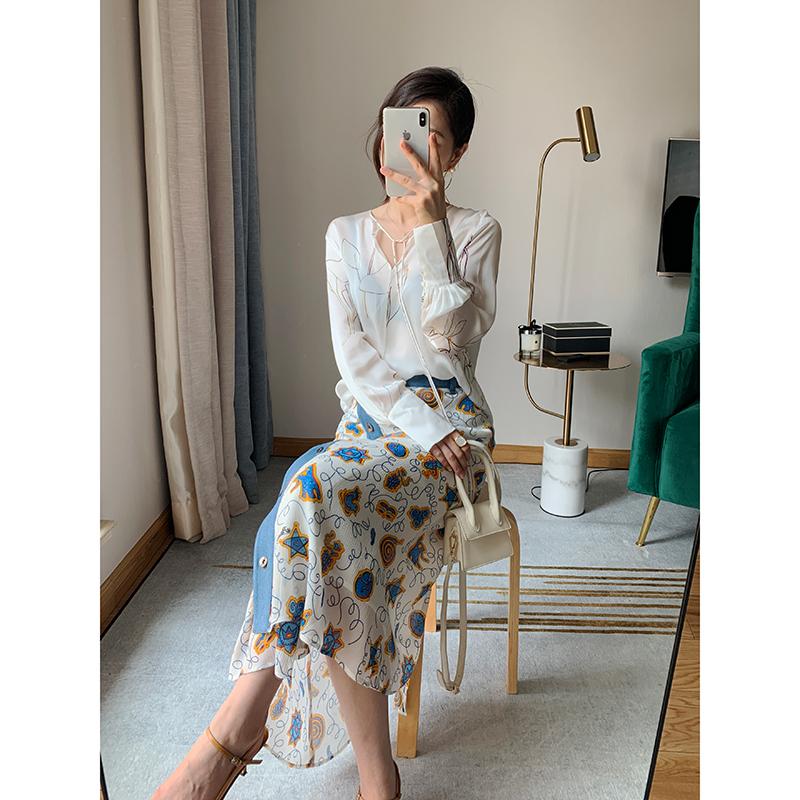 L0ew*半身yuanv半身!牛仔布边拼接印花长裙双绉真丝裙中工厂