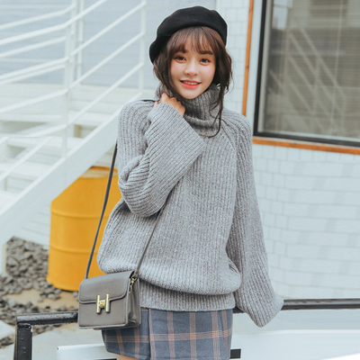 Solid color turtleneck autumn and winter womens new Korean version of loose bat sleeves thick wool jacket thick coat jacket