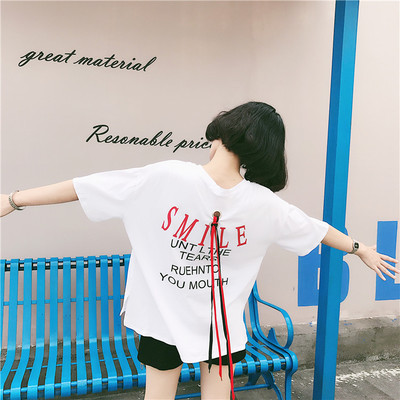 Harajuku style summer wind loose BF back letter printing strap split-sleeved T-shirt students joker shirt
