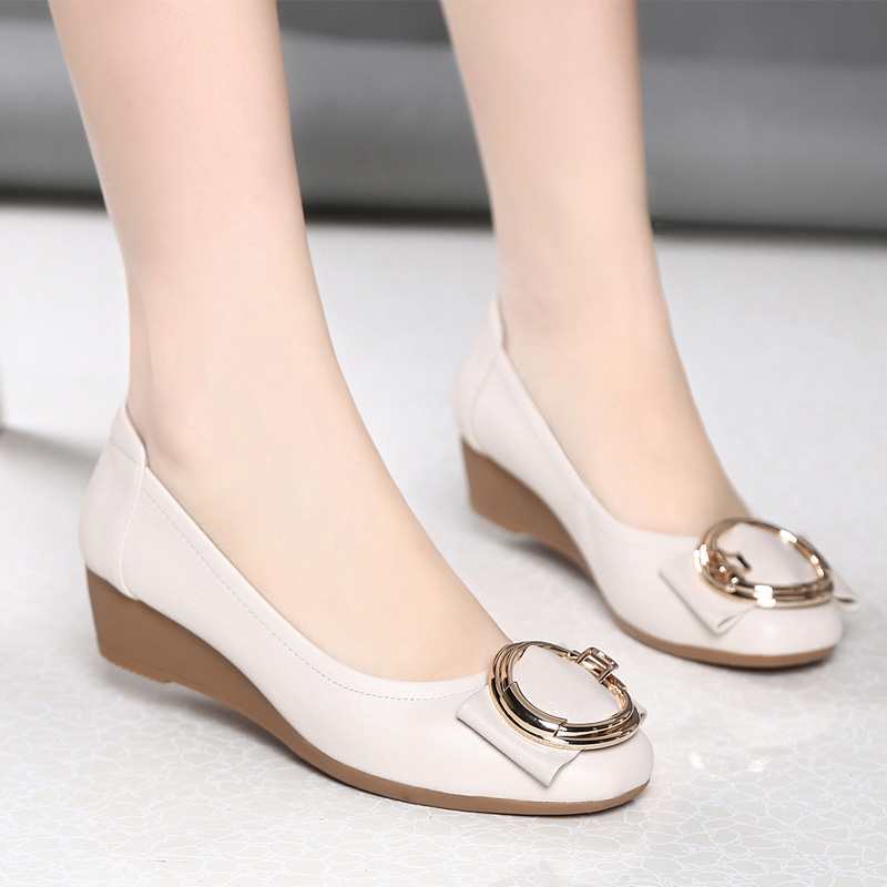 Ginter Bailey 2019 autumn new mother dance small leather shoes with a single shoe with a wedge heel shoes