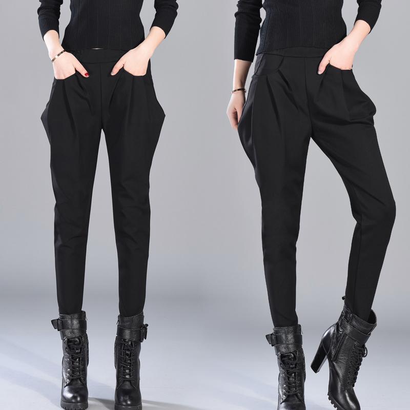 时尚可可里小姐店铺hidou女装酷酷的帅气哈伦裤长裤小脚裤黑裤子
