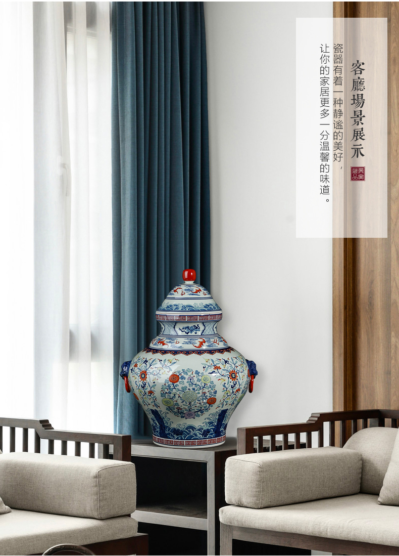 Jingdezhen blue and white color bucket storage tank is Chinese style antique hand - made ceramics sitting room porch rich ancient frame decorative furnishing articles