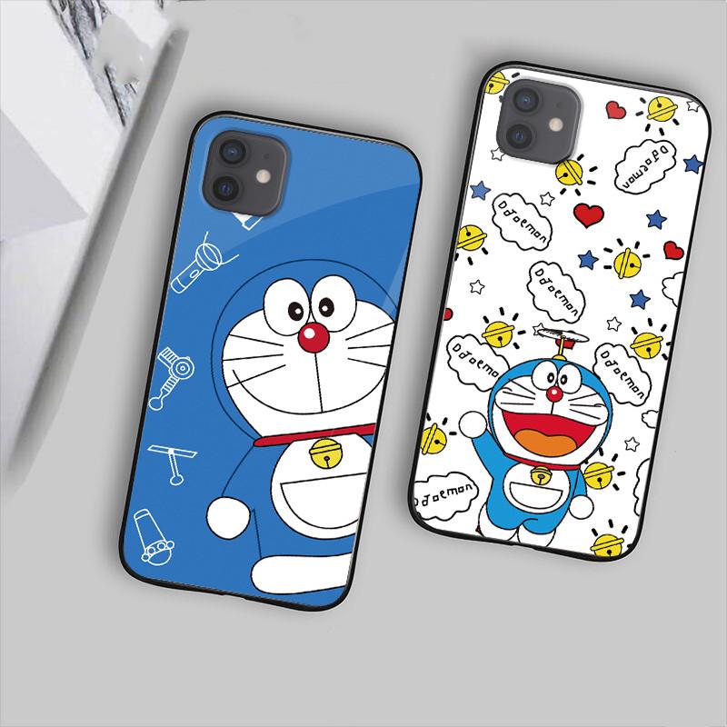 新款适用于苹果12手机壳玻璃iphone12Pro钢化全包防摔蓝胖子12Promax情侣个性创意叮当猫12mini潮男女哆啦A梦