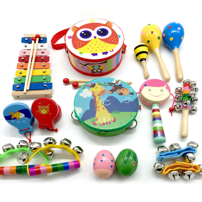 Friendly Kids Children Wooden Shake Percussion Musical Learning Rattles Instrument Toys Shrink-Proof Toys For Baby