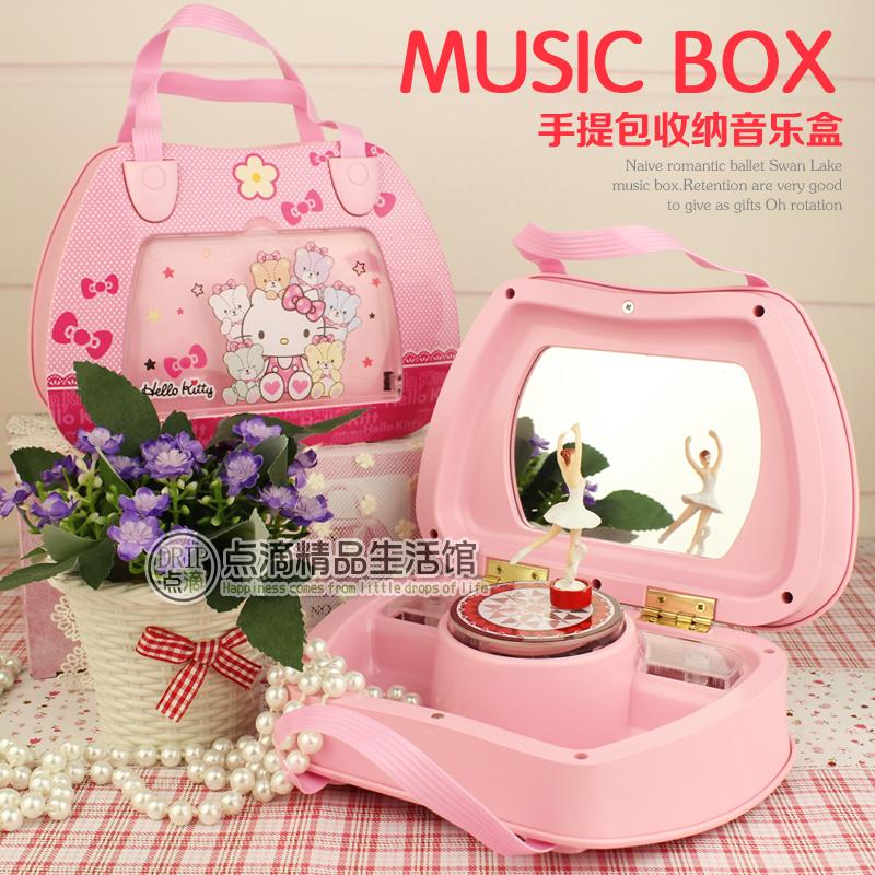 Музыкальная шкатулка Бесплатная доставка привет Китти музыкальный замок окно в небе розовый музыкальная шкатулка для хранения ювелирных изделий, чтобы отправить детей девочек