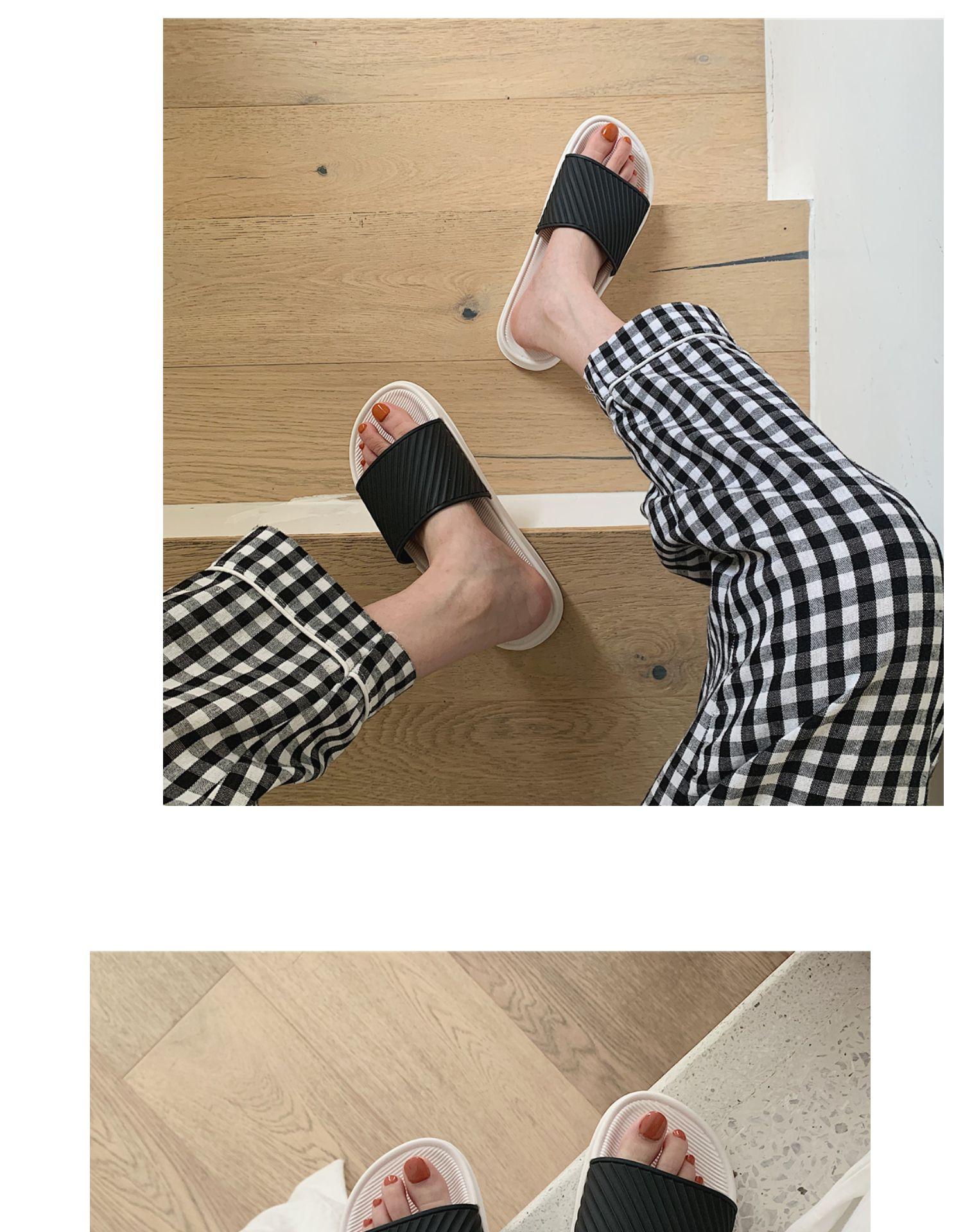 新款拖鞋女夏日式简约情侣家用防滑洗澡平底潮室内凉拖男详细照片