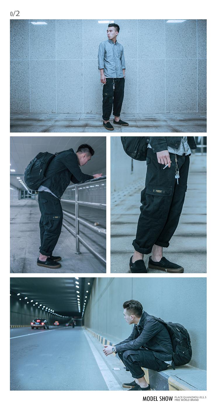 WASSUP bốn mùa rửa overalls quần tây giản dị lỏng thẳng đa túi cotton quân sự quần