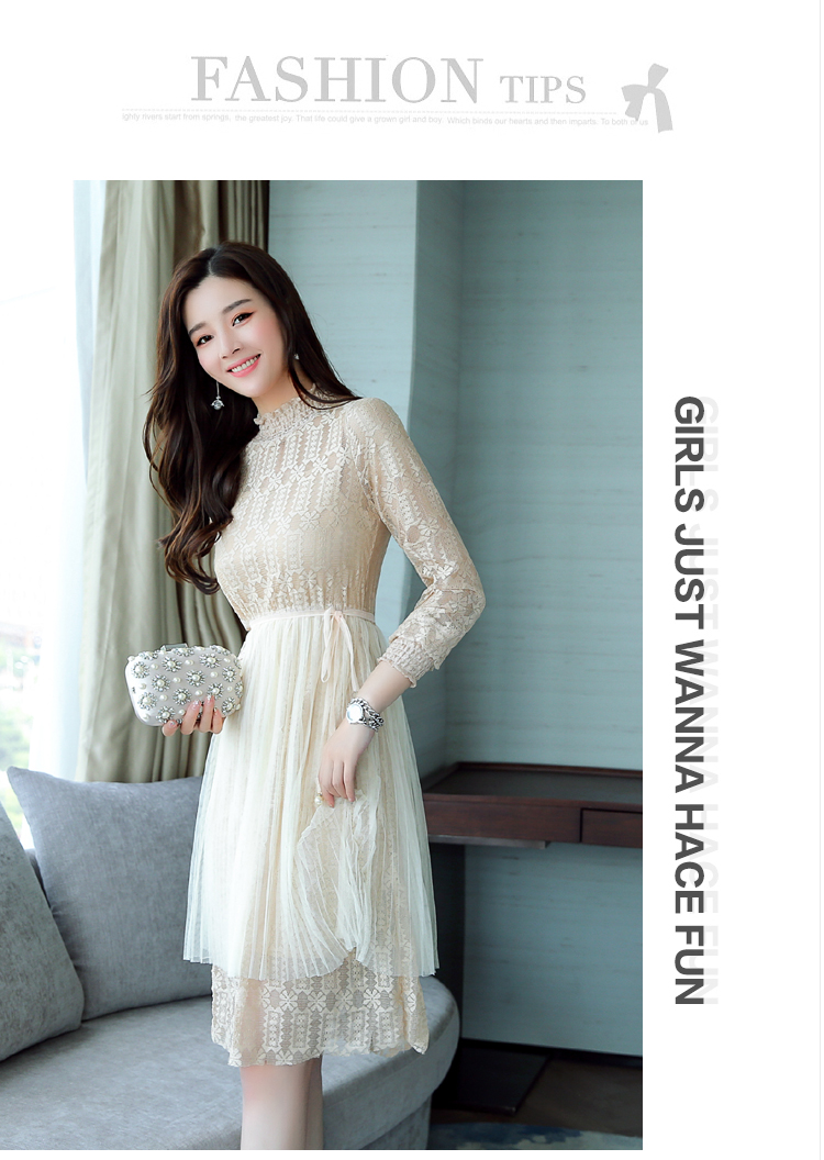 New 2017 Women\'S Lace Dresses Korean Fashion Stand Collar Long ...