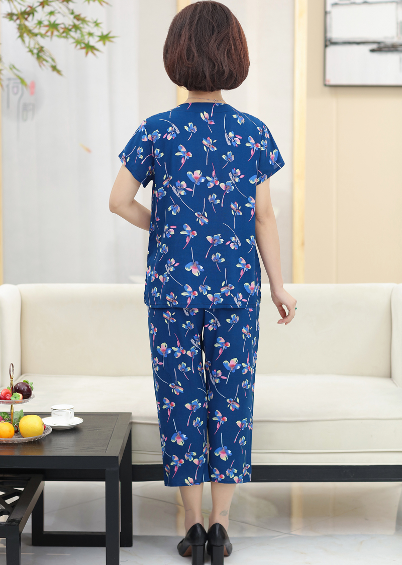 aea89d77cd93 Middle-aged summer dress female mother loaded grandmother short-sleeved  cotton silk rayon suit · Zoom · lightbox moreview · lightbox moreview ...