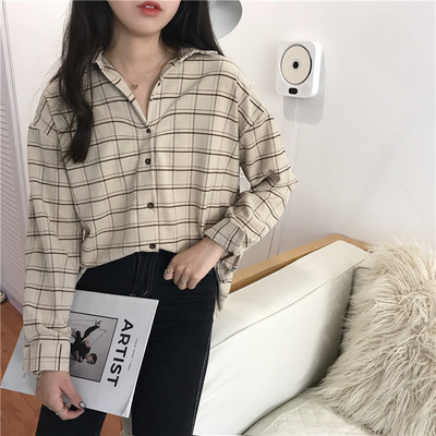 Autumn and winter womens Korean version of the long paragraph in the long-sleeved plaid shirt loose women polo collar single-breasted shirt