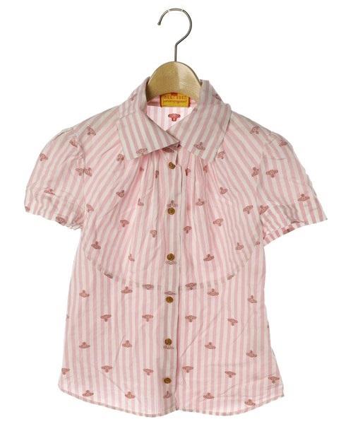 日本代购VivienneWestwoodredlabel粉色条纹土星刺绣短袖t恤