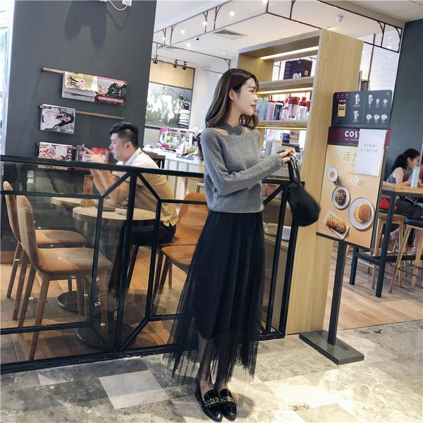 TS1067#新款网红春季女装洋气针织套装法式初恋小香风网纱连衣裙