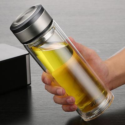 富光双层玻璃杯简约便携车载水杯