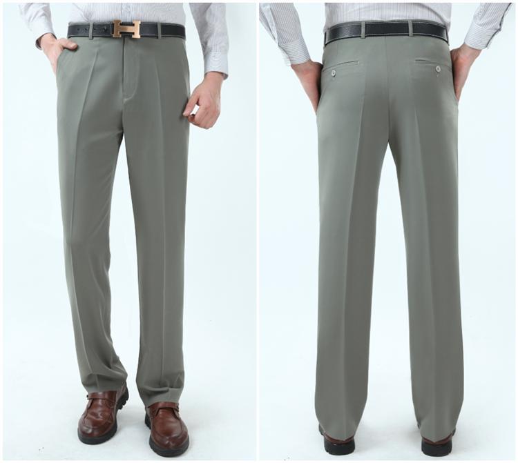 Mùa hè nam quần lụa trung niên kinh doanh bình thường phù hợp với quần miễn phí nóng mỏng lỏng thẳng treo lên quần