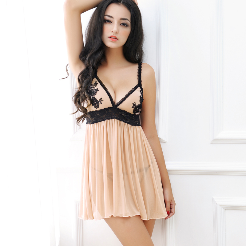 d0c74228a75 Red core female sexy pajamas summer autumn transparent suspenders lingerie  short nightdress lace large size hot adult