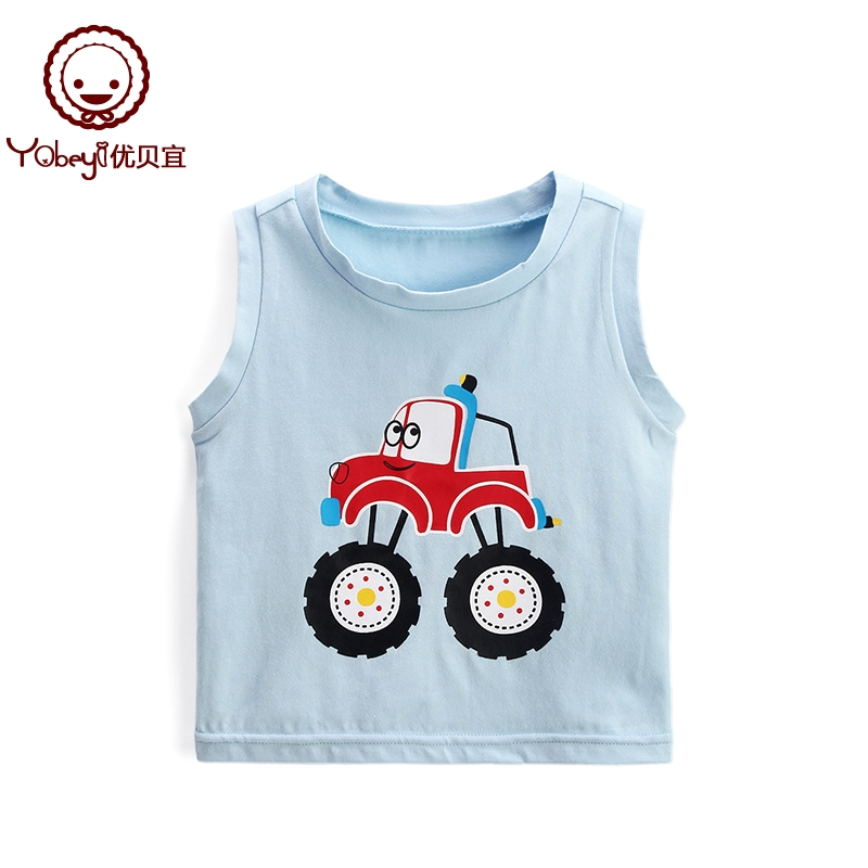 Yubei Yi Sleeveless Vest boys thin section children's casual summer 2019 New children's clothing baby cartoon shirt