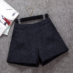 Autumn and winter new Korean high waist woolen shorts female wear A word wide leg pants Slim was thin casual boots boots pants