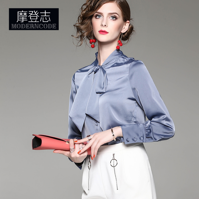 692d8949 ... chiffon shirt long-sleeved satin temperament shirt bow shirt female  solid · Zoom · lightbox moreview · lightbox moreview ...
