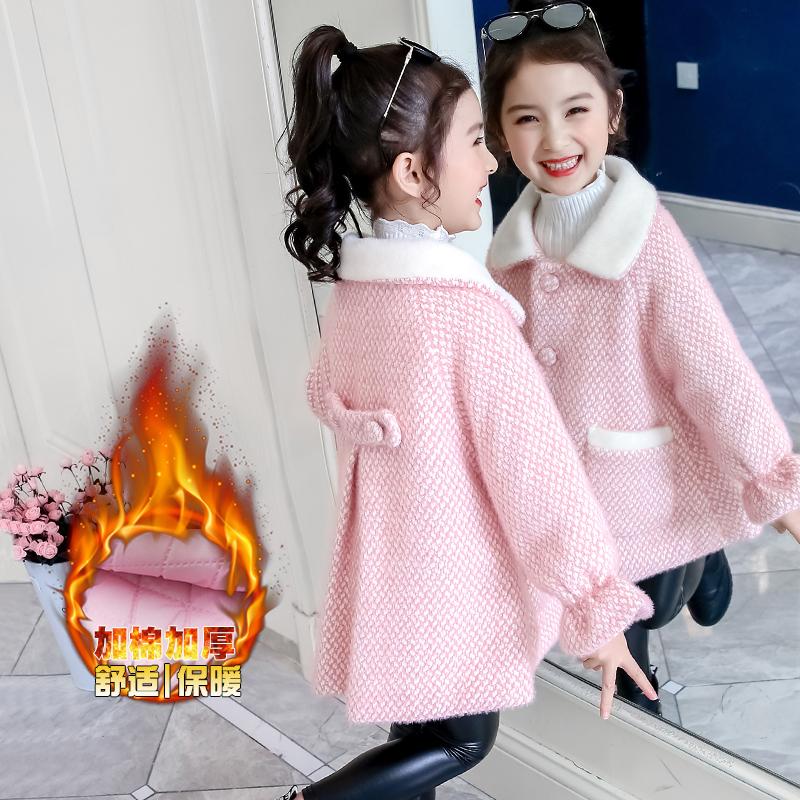 女童冬装呢子外套2019新款中大童韩版洋气小女孩加厚夹棉毛呢大衣