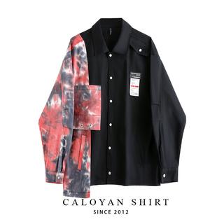 Свободный нейтральный краситель сращивание асимметрия рубашка с длинными рукавами пальто дизайн смысл небольшой Толпа институт ветер любители куртка волна, цена 2232 руб