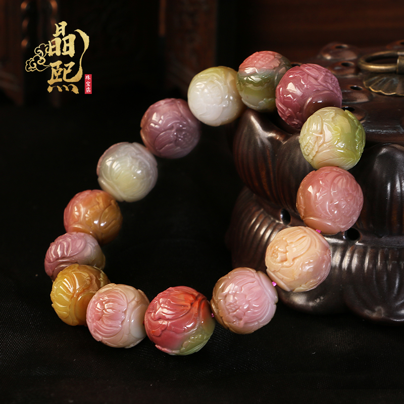 Jingxi natural crystal bracelet Female old mine full of meat multicolored salt source single circle hand string candy color agate pendant necklace