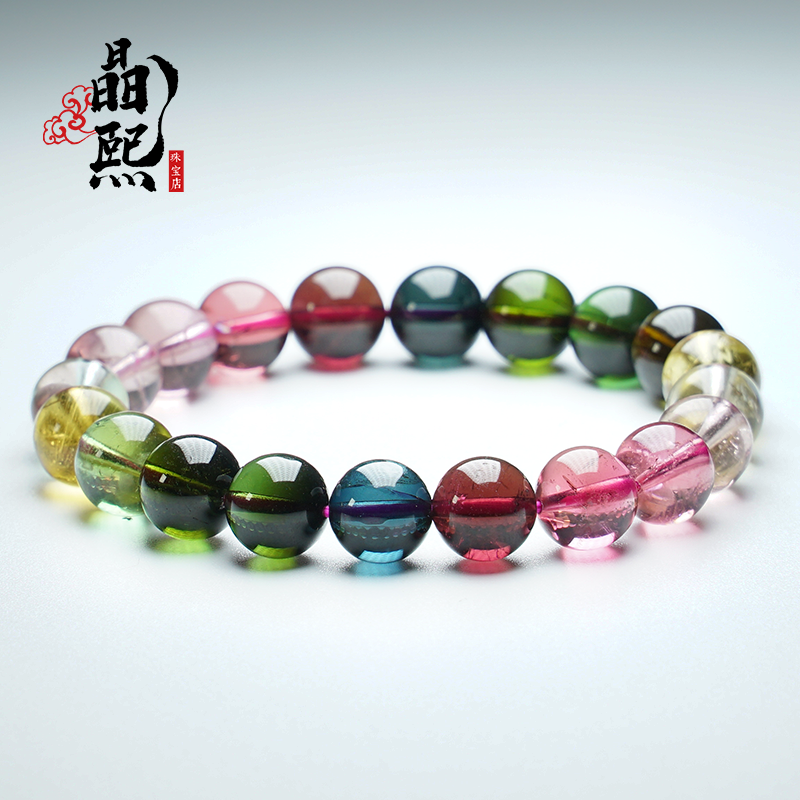 Jingxi old material color candy tourmaline bracelet womens single circle natural rainbow watermelon tourmaline hand string female